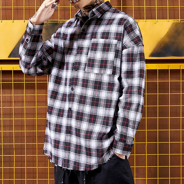 Japanese Tide Brand man shirt Student Lovers Loading Hong Kong Fashion Harajuku Korean Edition Loose Leisure Lattice Shirts