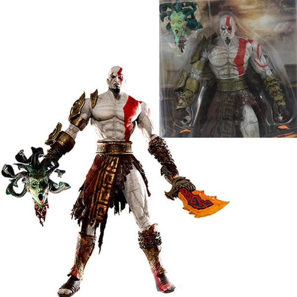 19cm Neca Dieu De La Guerre Kratos En Or Polaire Armure Avec Tête De Méduse Pvc Action Modèle Figure Poupée Jouets Avec Boîte Y190604
