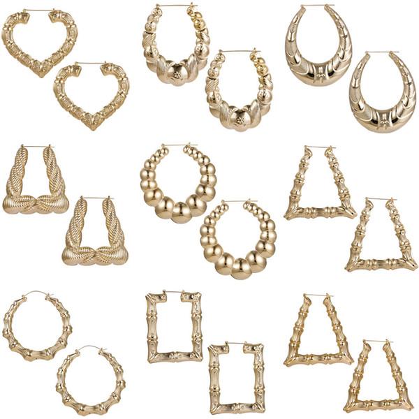 golden punk irregular geometric heart bamboo hoop earrings for women oversize round circle statement earrings ladies jewelry