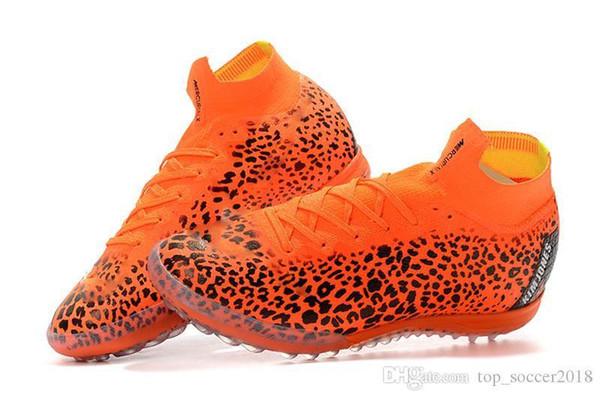 Orange Leopard Print Soccer Cleats Ronaldo Mercurial Superfly KJ VI 360 Elite TF Football Boots Turf Original Indoor Soccer Shoes