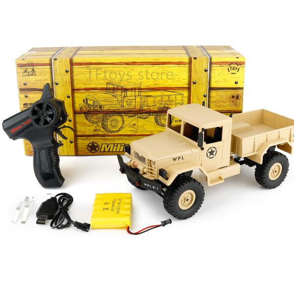 Wpl B -1 1: 16 Rc Military Truck Mini Off-Road Car Rtr Metal Beam Sospensione / Bright Led 4wd Rc Crawler regalo per ragazzo bambini