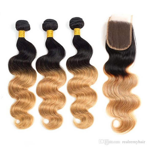 Dark Root 1B/30 Ombre Human Hair Body Wave 3 Bundles with Lace Closure Brazilian Virgin Remy Hair Weaves 2 Tone Ombre Hair