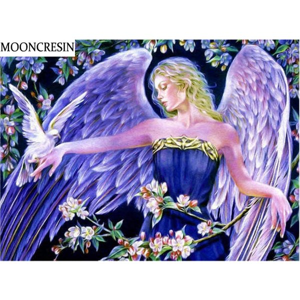 Compre Atacado Diy Diamante Pintura Asas De Anjo Diamante Bordado Dos Desenhos Animados Do Ponto Da Cruz Decoração Imagem Em Casa De Strass De