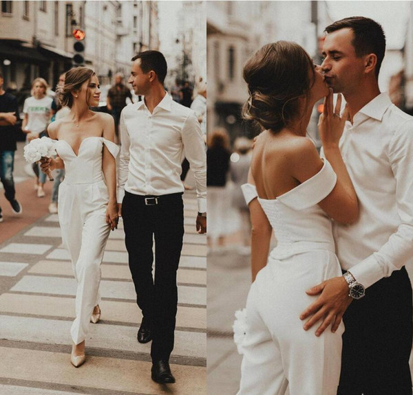 Modest Long Jumpsuit Wedding Dresses 2019 Sweetheart Off Shoulder Formal Party Gowns for Bride Sexy Back Wedding Gown Pant Suits