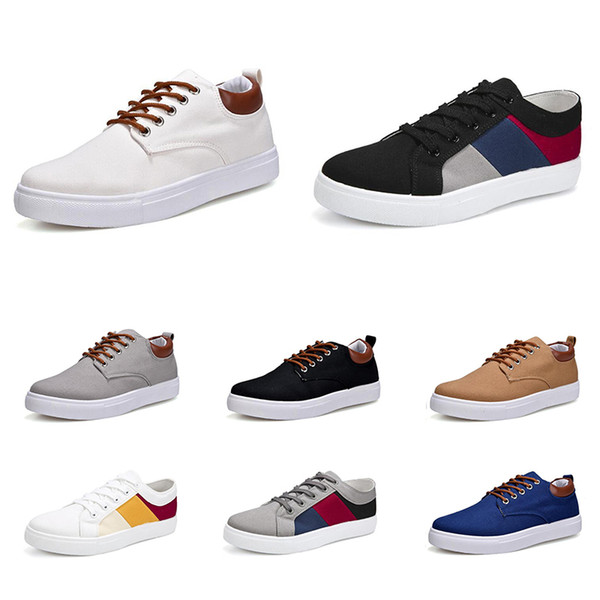 2020 men fashion casual shoes black white navy blue red khaki mens comfortable canvas sneakers size 39-46 item 4