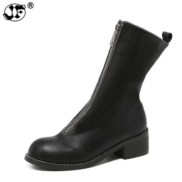 Women Boots Genuine Leather Mid-Calf Shoes Platform Thick Heels Round Toe Boots Female Fashion Zipper Mesh Ladies Shoe 6596