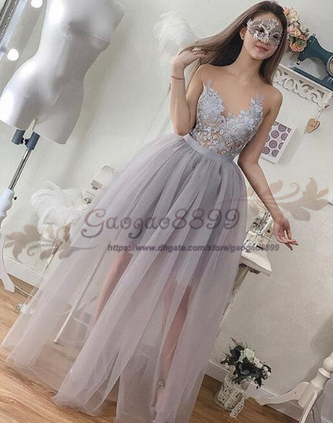 Real Photo Long Prom Dresses 2019 jewel neck tulle lace Ruffles see through custom made Evening Party Dress For Graduation cocktail party