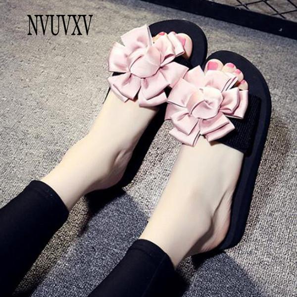 Doce cor artesanal chinelos de verão flor sandálias de moda não-slip sapatos de praia chinelos casuais Simples mulheres planas sapatos sh521