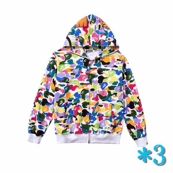 Mens Hoodie Hip Hop Zipper Jacket con cappuccio per la gioventù Streetwear del maglione di stile degli uomini di modo modella variopinto Stampa cappotto del Hoodie * 3