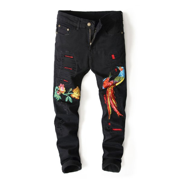 Mens Ripped Embroidered Jeans Pants Slim Fit Straight Distressed Denim Trousers With Flower And Phoenix Embroidery