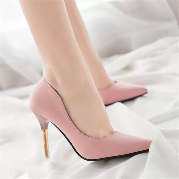Designer de Vestido Sapatos Mulheres Bombas Sexy de Salto Alto Moda Apontou Toe Casamento boca Rasa apontou Rosa Clássicos