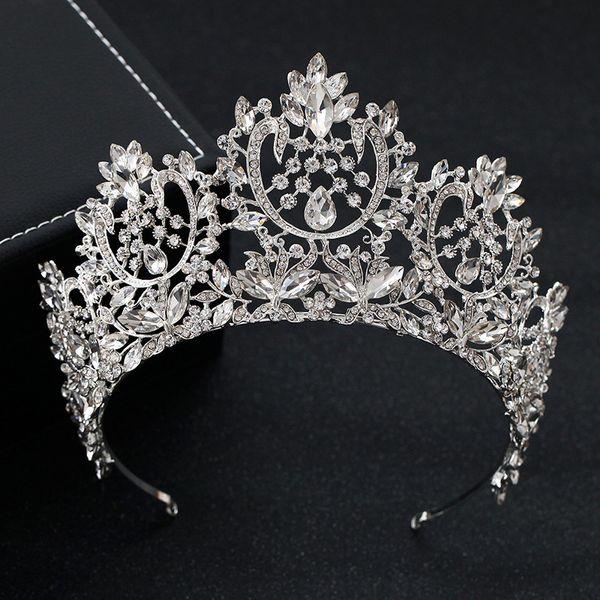 Kmvexo New Vintage Luxus Große Europäische Braut Hochzeit Tiaras Wunderschöne Kristall Große Runde Königin Krone Hochzeit Haarschmuck J190701