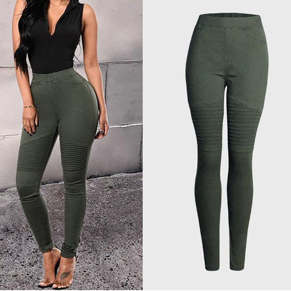 2019 Jeans Women Army Green Color High Waist Women Slim Sexy Pencil Jeans Femme Mujer Hip Package Denim Pants