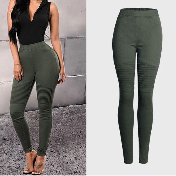 2019 Kot Kadın Ordu Yeşil Renk Yüksek Bel Kadınlar Ince Seksi Kalem Kot Femme Mujer Kalça Paketi Denim Pantolon