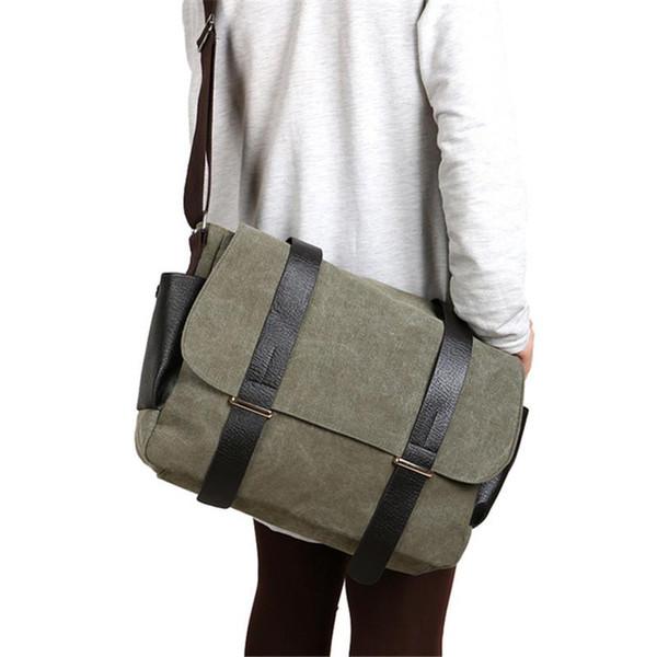 Vintage Canvas Men Messenger Bags Laptop Patchwork Leather Crossbody Bags For Men Male Shoulder Bags Satchel School Bag