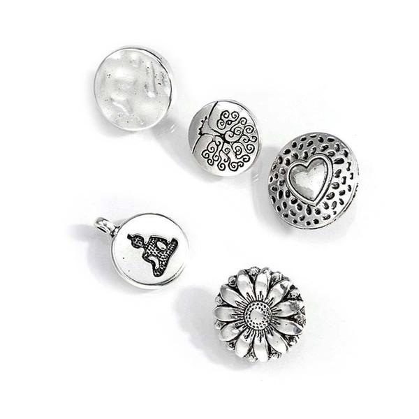 Yüksek Kaliteli Kalp Aşk Charm Kolye Çelik Renk Metal Siyah Kelime DIY Takı Yapımı Malzemeleri Için Moda Çiçek Şekli Düğmeleri Takılar