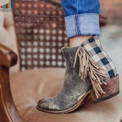 New Women Fringe Western Booties Female Casual Suede Low Heel Round Toe Boots Shoes Women Ankle Boots Zipper Platform Shoes