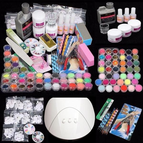 Свободная перевозка груза Большое значение комбинированный пакет для любого художника ногтя, чтобы начать делать акриловые ногти искусства у себя дома или в студии / салон лампы