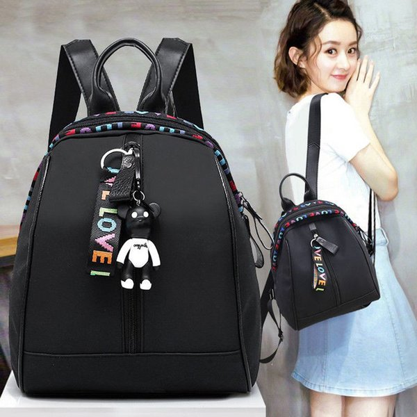 2019 New Fashon Backpack Women Girl Black Backpack Travel Nylon Solid Zipper Rucksack Shoulder School Bag New