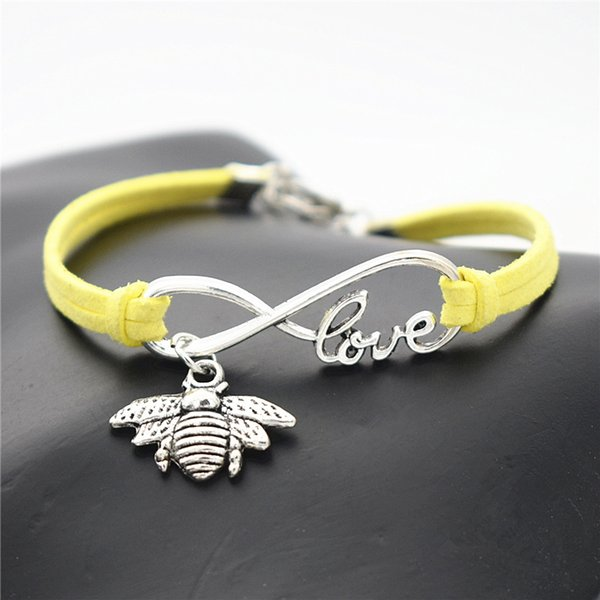 Handmade trançado corda de couro amarelo envoltório charme pulseira pulseiras moda feminina homens prata infinito amor abelha bonito mel abelha presente da jóia