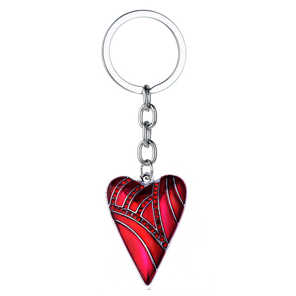 12PC Wholesale Love Heart Red Crystal Charm Keyring Women Girls Family Friends Keychain Birthday Party Gifts Jewelry Fashion BFF