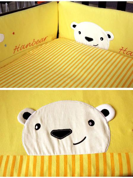 8Pcs Yellow Crib bumper set for Newborn Lovely Bear Baby padding set Cotton Cot bedding set Quilt/Bumper/Pillowcase