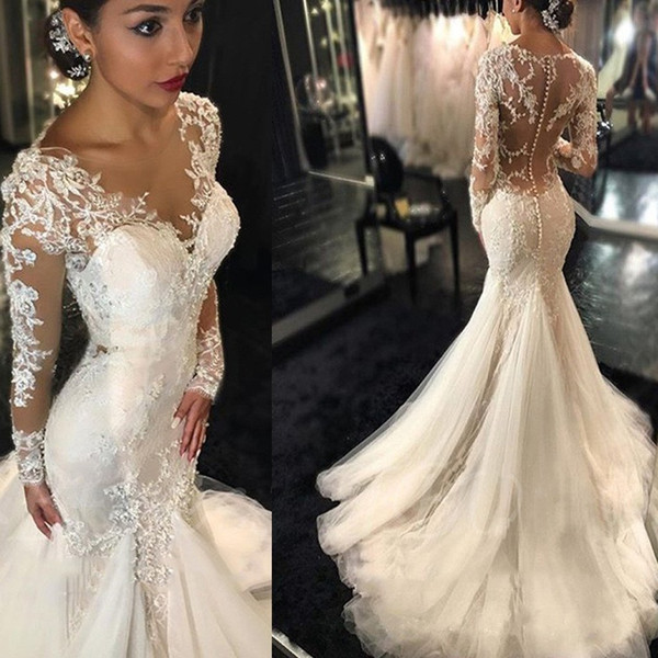 best selling 2021 Gorgeous Lace Mermaid Wedding Dresses Sheer Neck Dubai African Arabic Style Long Sleeves Fishtail Bridal Gown Plus Size Illusion Bodice