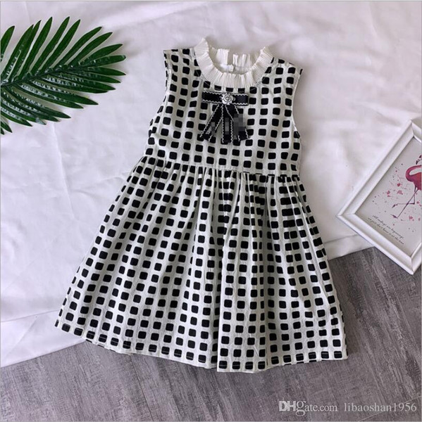 2019 girls wear spring plaid lace sling princess dress children hair band children skirt free shipping