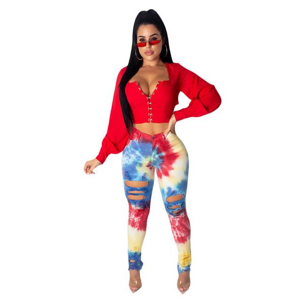 Designer femmes déchiré trou jean denim pantalon long sexy moulante skinny jean slim printemps vêtements d'été plus la taille s-3xl vente chaude 933