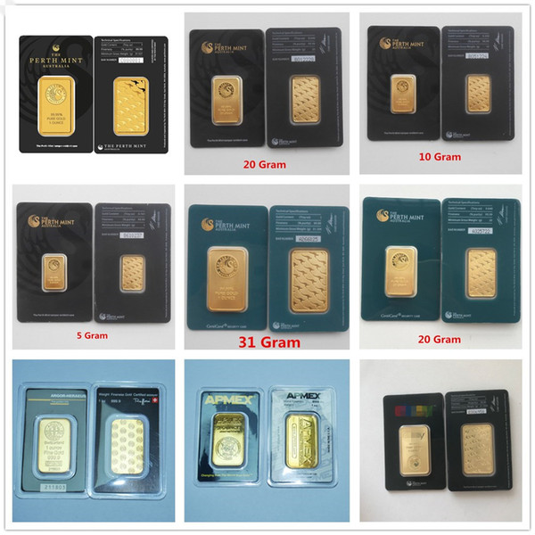 top popular 1 Oz Replica Perth Mint Argor Hereaus Rcm Gold Bar Birthday Holiday Gifts Home Decorations Crafts Replica Gold Plating Bullion 2019