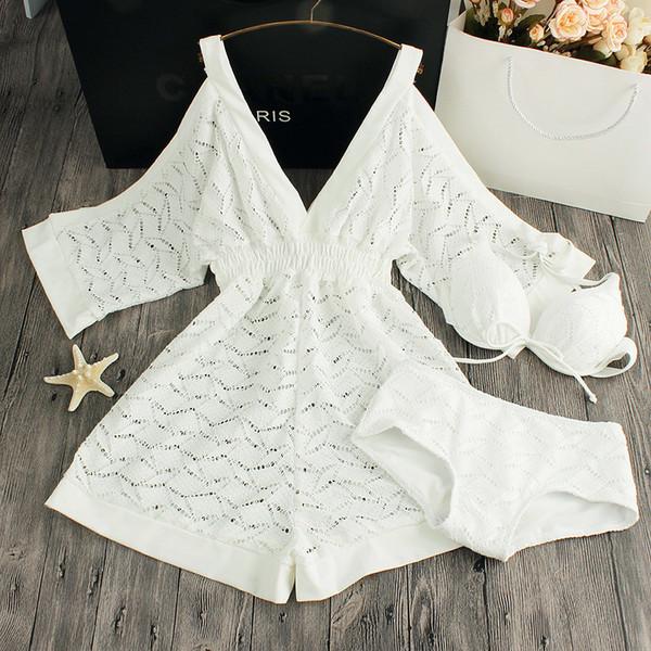 2019 New Three Pieces Bikinis Sets Swimsuit Female Hot Spring Black White Lace Bikini Push Up Swimwear Swim Dress For Women J190519