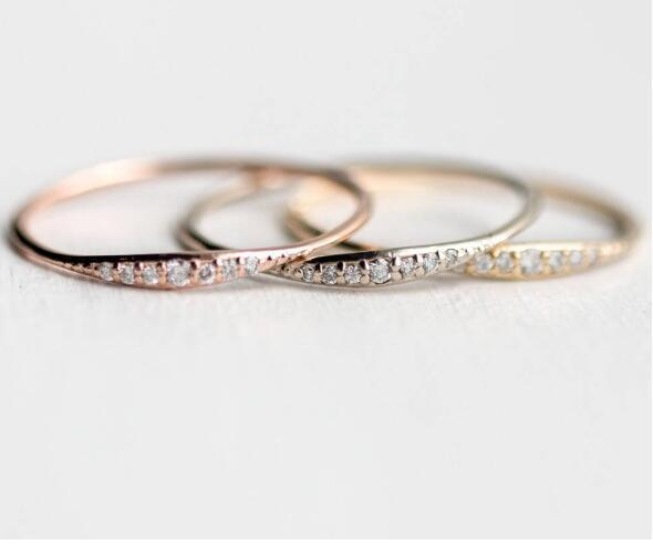 Romantic Thin Crystal Finger Ring for Women Gold Silver Rose Gold Fashion Statement Jewelry Nice Party Gift Elegant Wedding Ring