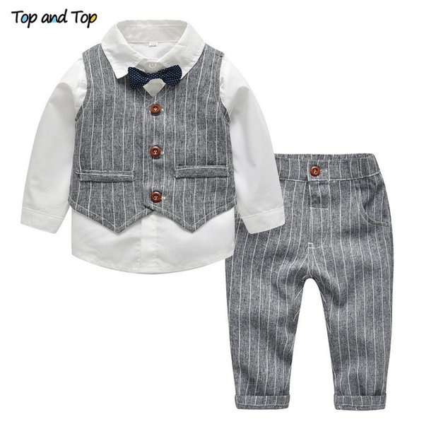 Top And Top Winter Children Clothing Gentleman Kids Boys Clothes Set Shirt+vest+pants And Tie Party Baby Boys Clothes 3pcs/set J190520