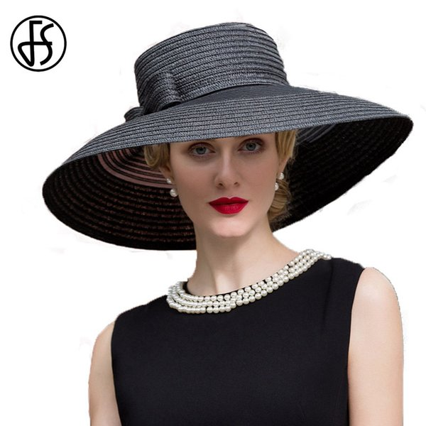 wholesale Black Elegant Girls Lady Womens Summer Sun Hat Large Wide Brim Wedding Fedora With Bowknot Derby Straw Panama Hat Chapeu