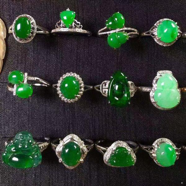 W0085 china fashion charm custom jade jewelry nanyang jadeite green jade ring Burma jadeite citrine rings for women