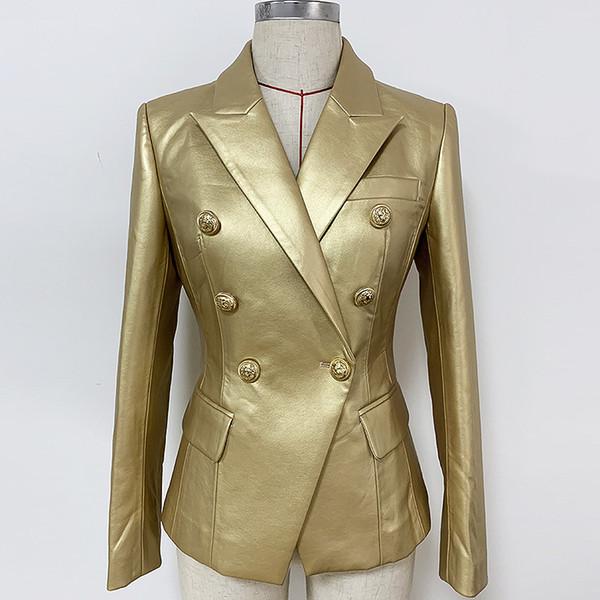 Outono Inverno de alta qualidade terno de couro sintético Gold Lion Metal Head Buckle Abotoamento Magro Jacket
