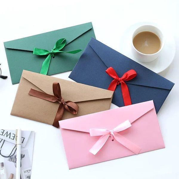 10pcs/pack vintage fashion bowknot gift invitation kraft envelope for wedding birthday greeting wishes kawaii envelopes