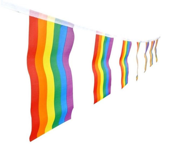 14*21CM 5.5m 20pcs/String Lesbian Gay Pride LGBT Flag Rainbow Banners Party Decorations Wedding Centerpieces Home Decor