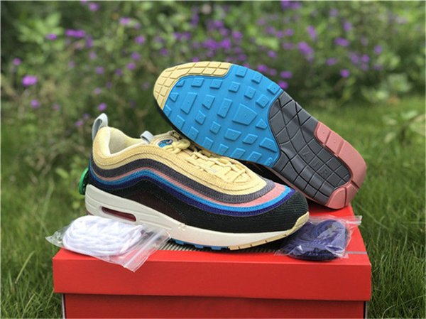 top popular 2019 Release Authentic 97 Sean Wotherspoon x 1 97 VF SW Hybrid Running Shoes Men Corduroy Rainbow Light Blue Fury Sneakers Lemon Wash 2021