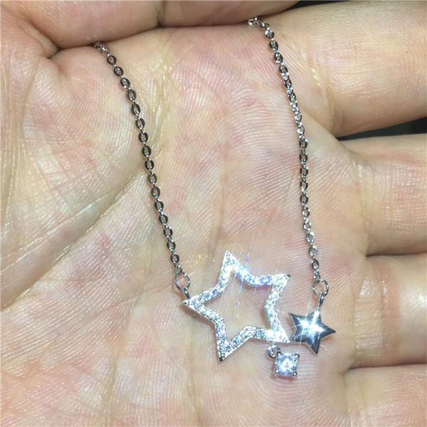 simple Jewelry Star shape Pendants Diamond Cz Real 925 Sterling silver Wedding Pendant with Necklace for women Gift