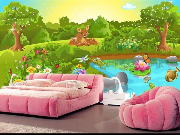 Tamanho personalizado 3d foto papel de parede cama sala de crianças quarto mural amor verde mundo animal 3d imagem sofá TV pano de fundo papel de parede não-tecido adesivo de parede