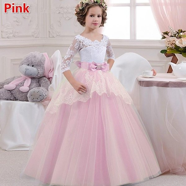 White/Ivory Lace Pink Tulle New Kids TUTU Flower Girl Dresses Communion Party Prom Princess Gown Bridesmaid Wedding Formal Occasion Dress
