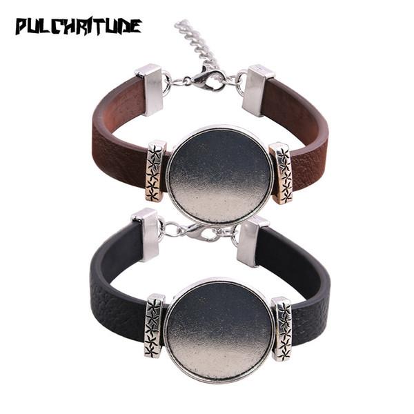 1 pcs PU Bracelets Bracelets Base Réglage Cuff Plateaux Vierges Brazel Fit 25mm Verre Cameo Dôme Cabochon Résultats de Bijoux DIY P6746
