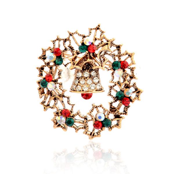 Alloy Diamond Christmas Vintage Exquisite Bell Bracelet Brooch