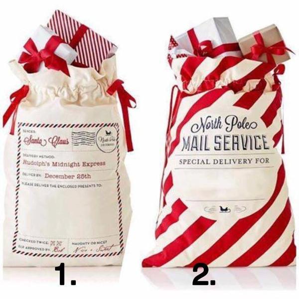 Enveloppe de Noël Sacs rayé rouge Sac de jute Sacs en toile Père Noël Sac de jute Sac à cordonnet toile Candy Bag Décorations de Noël T2I5520