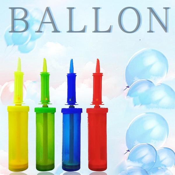 Bomba de globo de mano de mano de plástico bola del globo inflador bomba de aire portátil Globo antideslizante Herramientas Suministros de boda 4 colores VT0252