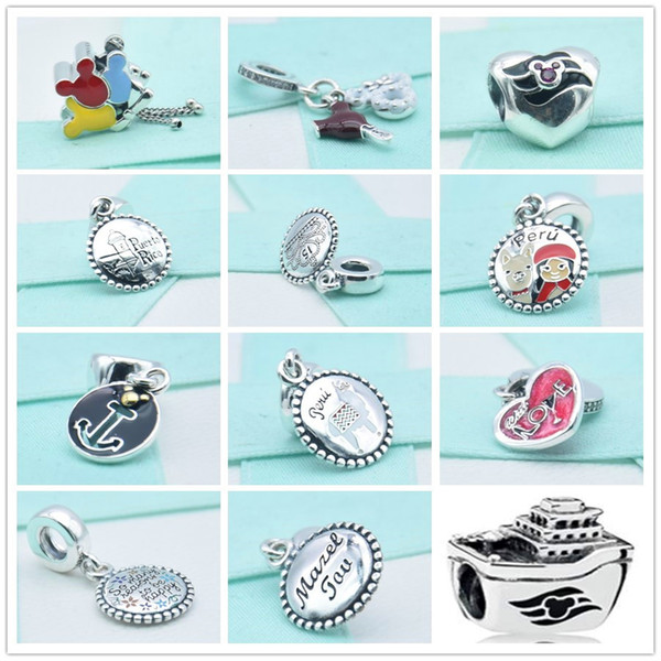 100% 925 sterling silver mouse dangle charms hearts beads s925 pendant puerto rico charm fit beads bracelets necklaces diy for women jewelry