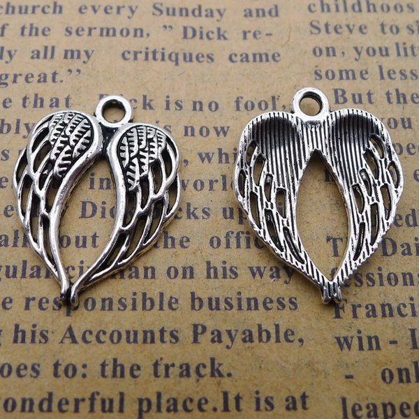 200pcs 17*22mm Antique tibetan Silver handmade feather wing charms for bracelet vintage alloy metal pendants diy jewelry making ornament
