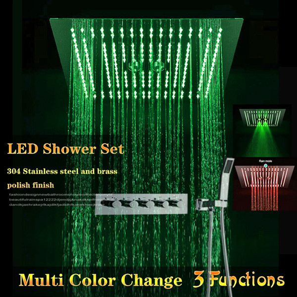 Led shower heads remote control color shower kit with high flow shower faucet 3 functions rain curtain mistfall