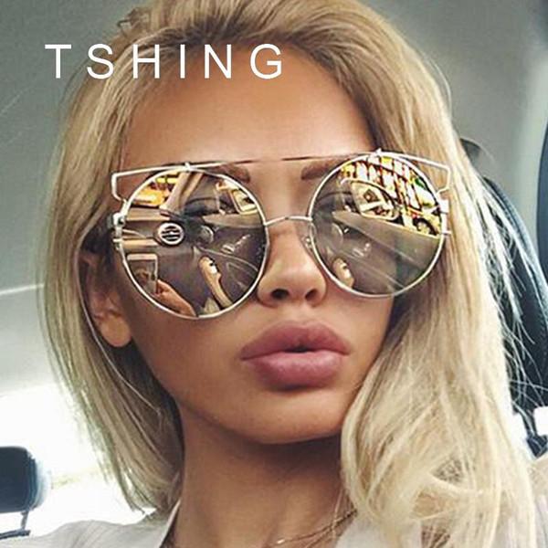 Wholesale-2016 New Fashion Cat Eye Oversized Grandi occhiali da sole rotondi Donne Superstar Brand Designer Lady Rose Gold Mirror Occhiali da sole femminili